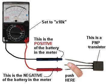 1 200 transistor circuits the leads on the transistor and when you press hard on the two leads shown in the diagram below the needle will swing almost full scale
